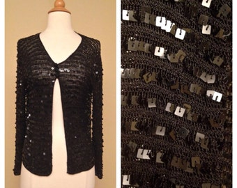 Black Sequin Long Sleeve Sweater Shawl Bolero - 1980s Formal Cocktail Coverup - Great for Punk Goth Rockabilly Pinuo