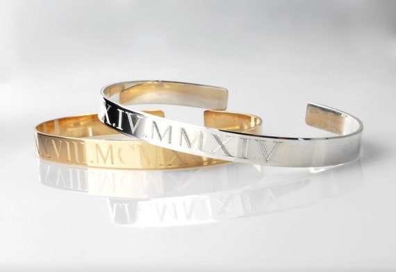 Roman Numeral Cuff Bracelet Engraved With By
