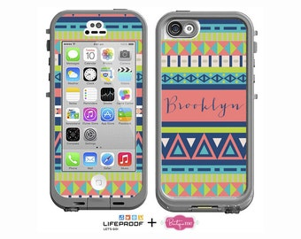 Coral, Teal & Lime Aztec Monogram Decal for LifeProof iPhone 6, iPhone 4/4s, iPhone 5/5s or iPhone 5c Case