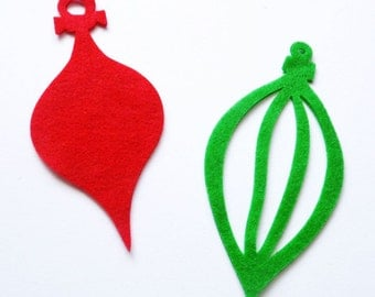 Felt Christmas Ornaments, Set 12 pieces