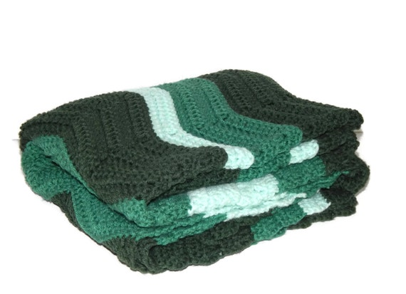 Vintage light blue emerald green wave throw by - Emerald green throw blanket ...