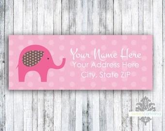 Return Address Labels - Set of 60 - Pink Elephant