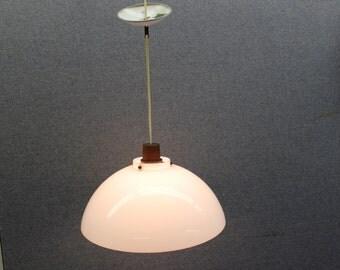 Mid Century Modern vintage, plastic and teak, ceiling light, hanging lamp