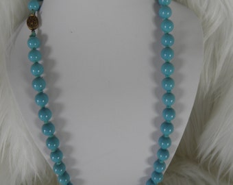 Turquoise Glass Bead Necklace with Ornate Clasp