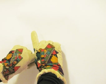Gloves Hand painted Isotoner XL African abstract art