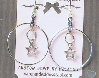 Star and Hoop Dangle Earrings, Silver Finish Hoop Ring Earrings with Star Charm