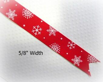 """Red Christmas Ribbon. Snowflake Ribbon. Holiday Print Ribbon. Grosgrain Christmas Ribbon. 5/8"""" Width. 3 YARDS."""