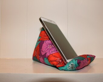 iCliner - Fabric Phone Stand or Holder - iPod Stand - flower, pink, red, turquoise, purple, bold,  gift, iPhone, smart phone, girl, modern