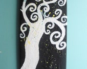 Deep Thoughts Tree heavily textured acrylic original artwork , Black and white painting , tree artwork, original art , swirly tree artwork
