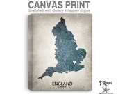 England Map Stretched Canvas Print - Home Is Where The Heart Is Love Map - Original Personalized Map Print on Canvas