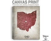 Ohio Map Stretched Canvas Print - Home Is Where The Heart Is Love Map - Original Personalized Map Print on Canvas