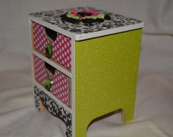 Jewelry box with 2 drawers - Black White Pink Green. Floral detail and gem drawer pulls. Teen, Tween, Flower Girl Gift. Can Personalize