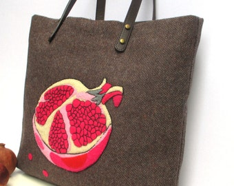 Pomegranate f eminine  Tweed  Artful  tote handbag, handmade hand embroidery and  appliqued,shopper, carry all