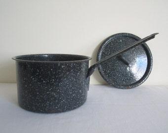VINTAGE enamel saucepan - rustic kitchen enamelware, black with green speckle