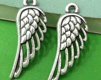 Wing Charms -25pcs Antique Silver Filigree Wing Charm Pendant 12x32mm AA509-6