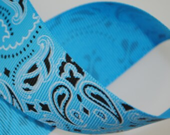 "Bandana 1.5"" Wide Grosgrain Pacific Blue"