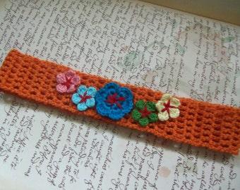 Orange Crochet Headband with Flowers. Handmade Crochet Headband.