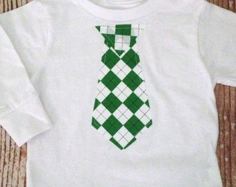 Boys Necktie Bodysuit or Tshirt - St. Patrick's Day - Christmas - Holiday - Kelly Green and Black Argyle