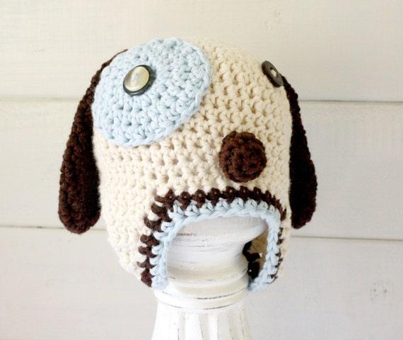 Crochet Dog Earflap Hat Pattern : Crochet Barney Dog Earflap Hat Puppy Dog Beanie Newborn to