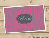 Zebra -  Personalized Placemat, Customized Placemats, Custom Placemat, Personalized Gift