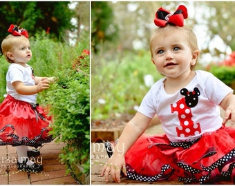 Red Dot Minnie Mouse Mickey Disney Girl Boutique Birthday Outfit Tutu Shirt Hat Pink Dots First Second Third Sewn