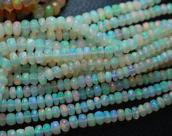 Sold by set of 10 loose AAA natural Ethiopian Opal facet roundel, size 4-5 mm