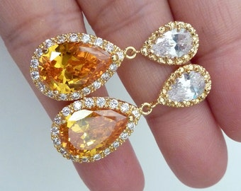 Wedding Bridal Earrings LARGE Halo Dark Citrine Pear Shaped Cubic Zirconia with Peardrop  Yellow Gold Plated Post Earrings