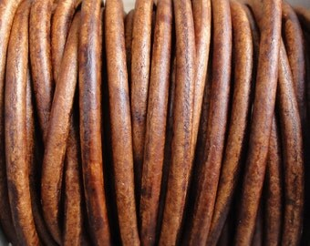 3mm Leather Cord - Light Brown Distressed Leather Cord Round Natural Dye - 2 Yard Increments