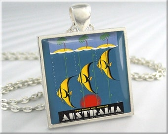 Australia Vacation Necklace Vintage Retro Poster Art Pendant Resin Picture Travel Jewellery (649SS)