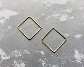 Small Hammered Square Hoop Wire Earring