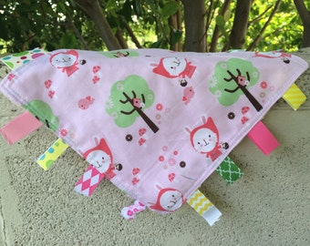 Bunny in the Woods Tag Blanket with your choice of Minky // In Stock, READY TO SHIP