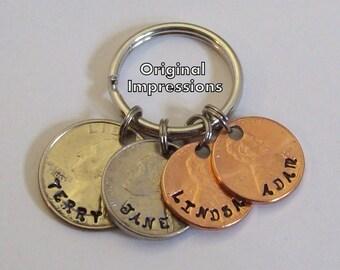 Dad custom keychain, mom custom key chain, family coin key ring, custom for dad, quarter keychain, nickel key chain, penny key ring.