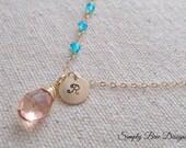 Personalized Champagne Quartz gemstone necklace with wire wrapped Swiss blue Quartz,14K gold fill,monogram initial charm,femininebridesmaids