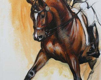 Original energy and movement equine dressage mixed media horse movement art drawing 'Flow' by H Irvine