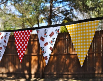 Ready to Ship - Mickey Mouse Disney party - Fabric pennant banner bunting - Birthday party decoration,  photo prop