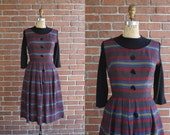Vintage 1960s Primary Dress / 60s wool primary color mini dress / Small S