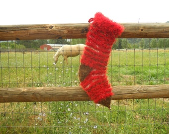 Handmade Shaggy Knit Christmas Stocking, personalized