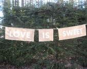 Rustic Wedding Love Is Sweet Burlap Banner