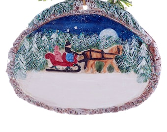 Christmas Ornament Personalized family or couple ornament - horse drawn sleigh winter wonderland Christmas scene ornament (f37)