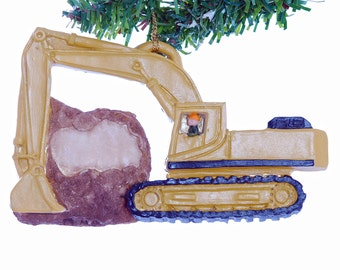 Excavator Christmas ornament - personalized excavator ornament - track hoe ornament - construction equipment ornament - digger ornament
