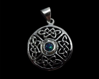 Solid .925 Sterling Silver Celtic Round 4 Knot Pendant with a Opal Center - Free Shipping Worldwide