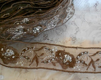 Brown and Silver Stitched Floral Beaded Trim