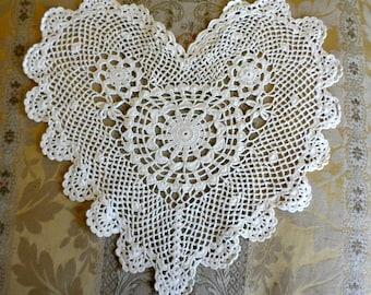 Ecru Cotton Crocheted Heart Appliques