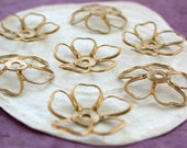 Raw Brass Flower Stampings, Metal Stamped Flowers, Vintage Style Metal Flowers, Made in America USA ~ STA-123