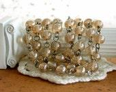 6.5 to 7.5mm Beaded Rosary Chain, Rosary Chain, Beaded Chain, Champagne Luster Bead Chain, Chain, Bead Chain, Jewelry Chain CHN-116