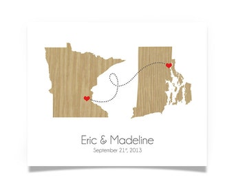 Two States Love Wedding Gift - Personalized State Heart Natural Series - Custom Location Modern Art Print Distance
