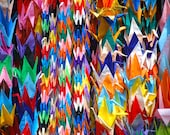 The story of 1000 origami cranes comes to life outside of a temple in Tokyo.
