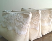 Rustic Wedding, Linen and Lace Bridesmaid Clutch, Clutches Set of 8