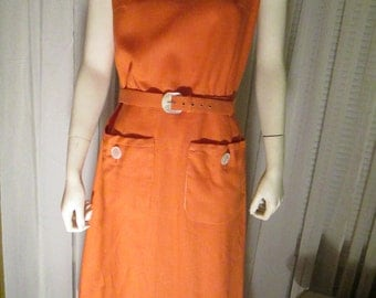 1950's Big Girl MARSHALL FIELD and Company Dark Peach Fitted/Sleeveless Dress