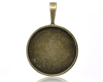 10 Bronze Cabochon Settings -  WHOLESALE - Holds 25mm - 39x27mm  - Ships IMMEDIATELY from California - BC711a